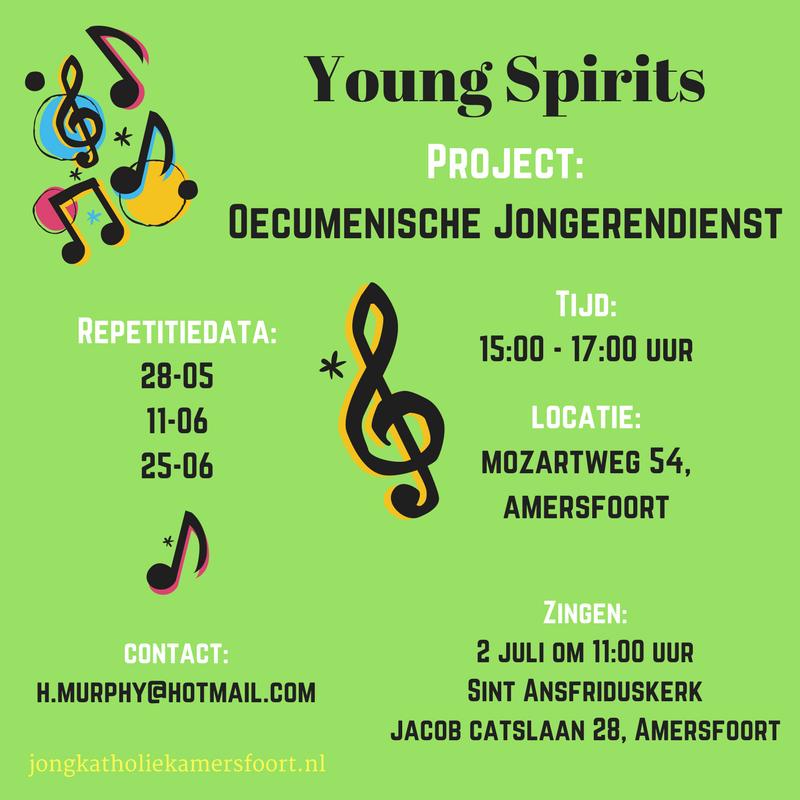 Jongerenkoor Young Spirits gaat 2 juli zingen geef je op en repeteer mee op 28-05, 11-06 en 25-06.