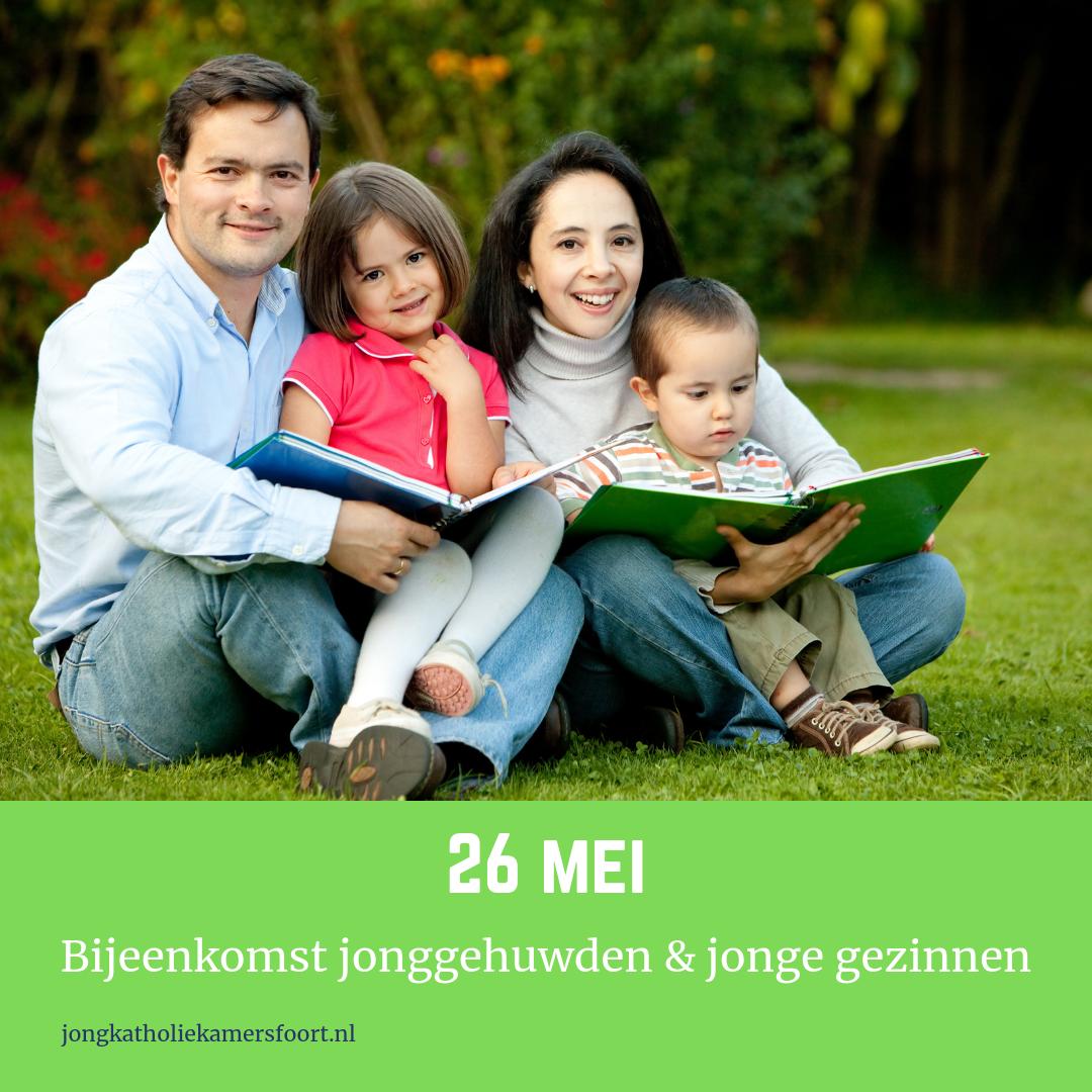 Foto jong gezin met datum 26 mei bijeenkomst jonggehuwden en jonge gezinnen