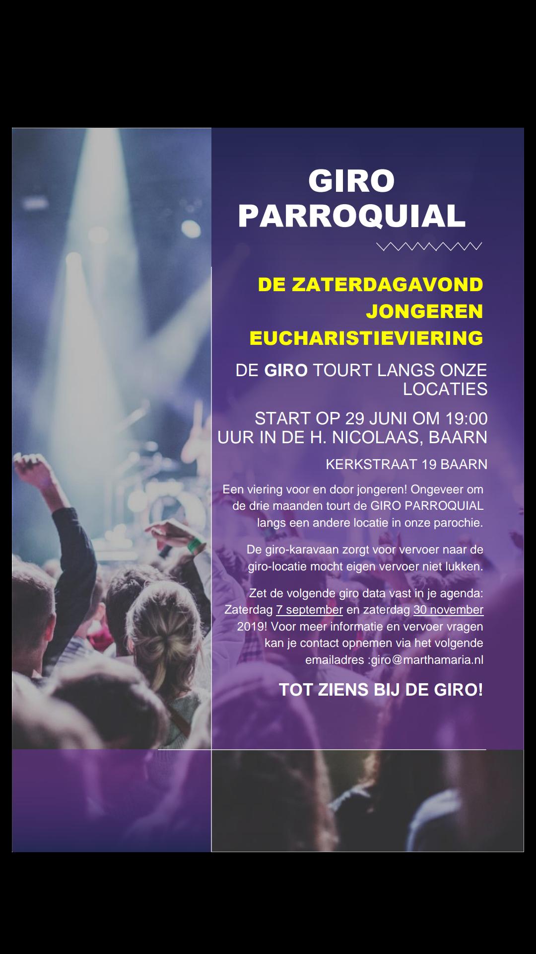 Uitnodiging voor tiener- en jongerenviering Giro Parroquial.